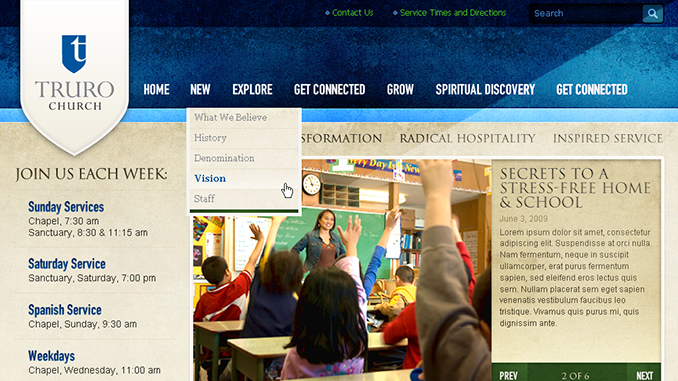 """Truro Chruch listed in Vandelay Design's """"25 Beautiful Church Websites – Part IV"""""""
